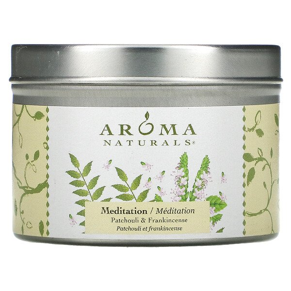 Aroma Naturals, Soy VegePure, Travel Tin Candle, Meditation, Patchouli & Frankincense, 2.8 oz (79.38 g)