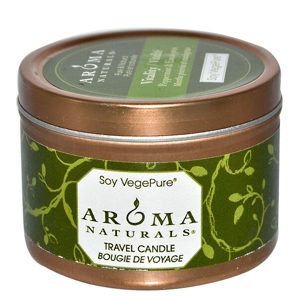 Aroma Naturals, Soy VegePure, Vitality, Travel Candle, Peppermint & Eucalyptus, 2.8 oz (79.38 g)