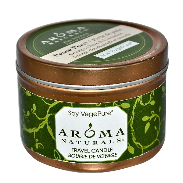 Aroma Naturals, Soy VegePure, Travel Candle, Peace Pearl, Orange, Clove & Cinnamon, 2.8 oz (79.38 g) (Discontinued Item)