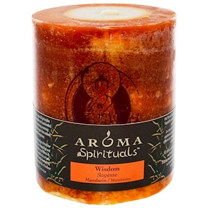 Арома Натуралс, Spirituals, Pillar Candle, Wisdom, Mandarin, 3″ x 3.5″ отзывы