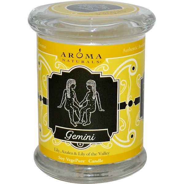 Aroma Naturals, Zodiac, Soy VegePure Candle, Gemini, 6 oz (180 g) (Discontinued Item)