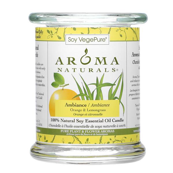 Soy VegePure, vela de aceite esencial de soja 100% natural, Ambiente, naranja y hierba limón, 8.8 oz (260 g)