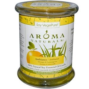 Арома Натуралс, Soy VegePure, 100% Natural Soy Essential Oil Candle, Ambiance, Orange & Lemongrass, 8.8 oz (260 g) отзывы покупателей