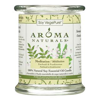 Aroma Naturals, Soy VegePure, 100% Natural Soy Essential Oil Candle, Meditation, Patchouli & Frankincense, 8.8 oz (260 g)