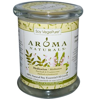 Aroma Naturals, Soy VegePure, 100% Natural Soy Pillar Candle, Meditation, Patchouli & Frankincense, 8.8 oz (260 g)