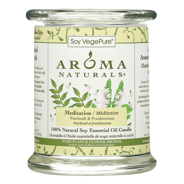 Soy VegePure, 100% Natural Soy Essential Oil Candle, Meditation, Patchouli & Frankincense, 8.8 oz (260 g)