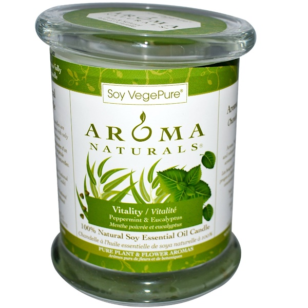 Aroma Naturals, 100% Natural Soy Essential Oil Candle, Vitality, Peppermint & Eucalyptus, 8.8 oz (260 g) (Discontinued Item)
