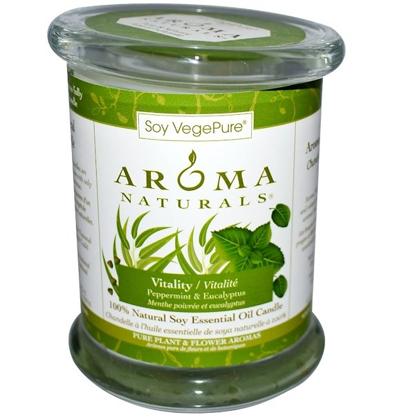 Aroma Naturals, 100% Natural Soy Essential Oil Candle, Vitality, Peppermint & Eucalyptus, 8.8 oz (260 g)