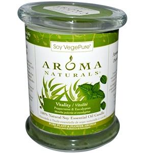 Арома Натуралс, 100% Natural Soy Essential Oil Candle, Vitality, Peppermint & Eucalyptus, 8.8 oz (260 g) отзывы покупателей