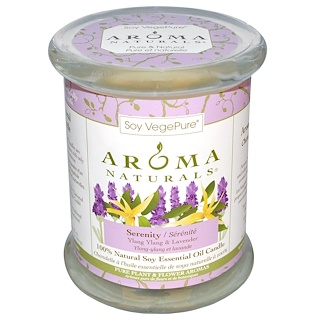 "Aroma Naturals, 100% Natural Soy Essential Oil Candle, Serenity, Ylang Ylang & Lavender, 8.8 oz (260 g) 3"" x 3.5"""