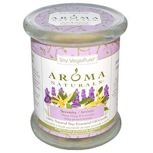 Арома Натуралс, 100% Natural Soy Essential Oil Candle, Serenity, Ylang Ylang & Lavender, 8.8 oz (260 g) 3″ x 3.5″ отзывы покупателей