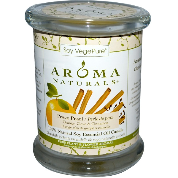 Aroma Naturals, 100% Natural Soy Essential Oil Candle, Peace Pearl, Orange, Clove & Cinnamon, 8.8 oz (260 g) (Discontinued Item)