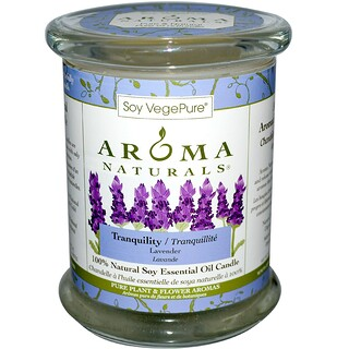 Aroma Naturals, 100% Natural Soy Essential Oil Candle, Tranquility, Lavender, 8.8 oz (260 g)