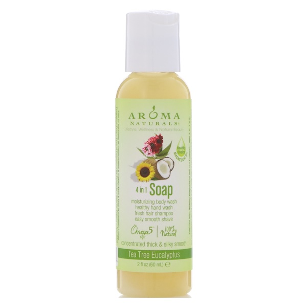Aroma Naturals, 4-in-1 Soap, Tea Tree Eucalyptus, 2 fl oz (60 ml)