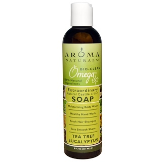 Aroma Naturals, 4-in-1 Soap, Tea Tree Eucalyptus, 8 fl oz (237 ml)