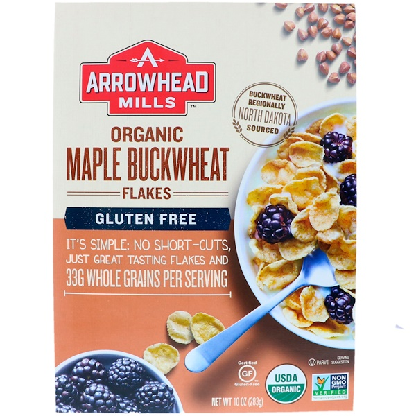 Arrowhead Mills, Organic Maple Buckwheat Flakes, Gluten Free, 10 oz (283 g)