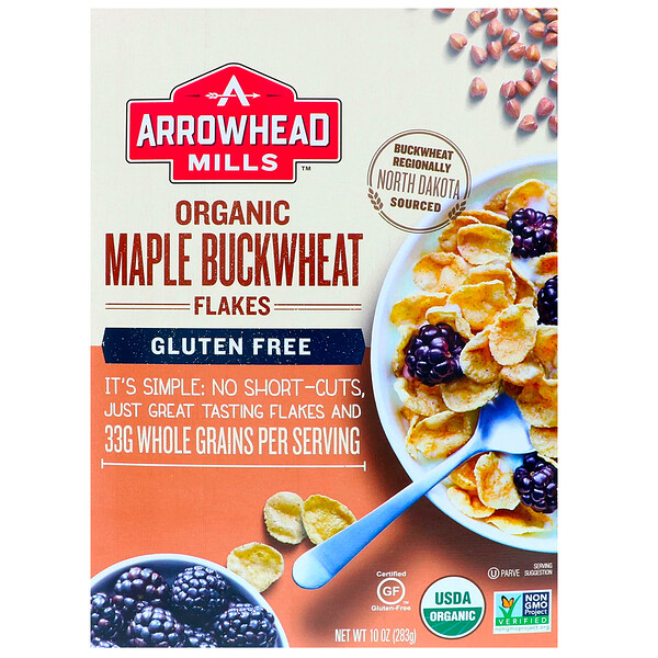 Organic Maple Buckwheat Flakes, Gluten Free, 10 oz (283 g)
