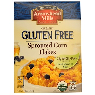 Arrowhead Mills, Organic Gluten Free, Sprouted Corn Flakes, 10 oz (283 g)