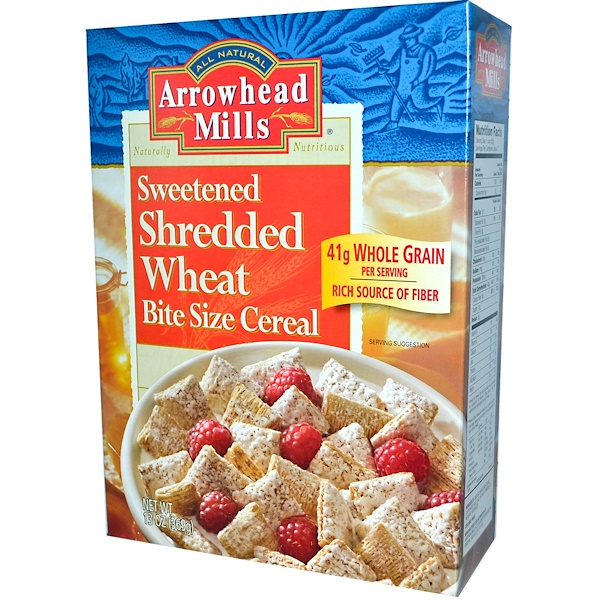 Arrowhead Mills, Sweetened Shredded Wheat, Bite Size Cereal, 13 oz (369 g) (Discontinued Item)