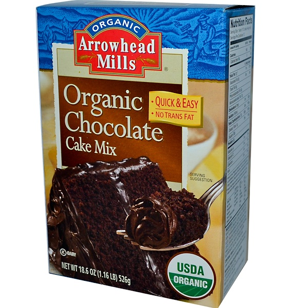 Arrowhead Mills, Organic Chocolate Cake Mix, 18.6 oz (526 g)