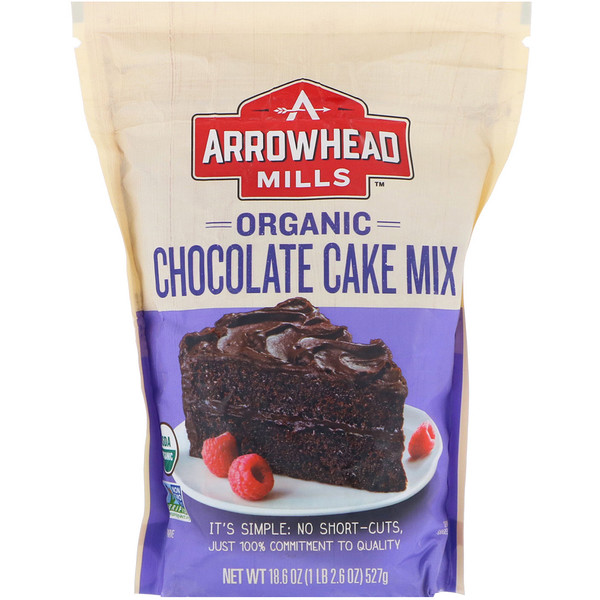 Arrowhead Mills, Organic Chocolate Cake Mix, 18.6 oz (527 g) (Discontinued Item)