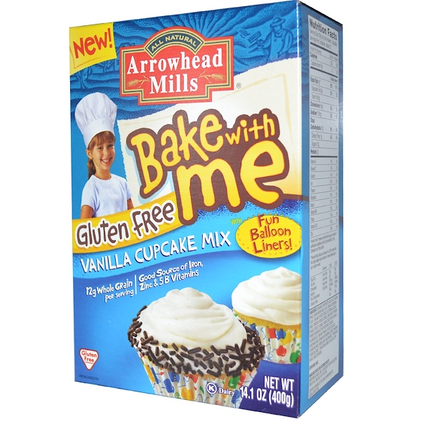 Arrowhead Mills, Bake With Me, Gluten Free Vanilla Cupcake Mix, 14.1 oz (400 g) (Discontinued Item)