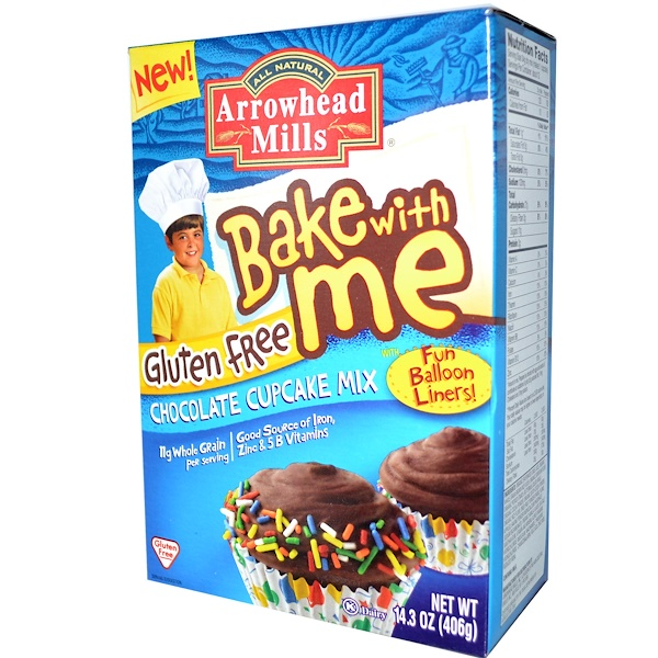 Arrowhead Mills, Bake With Me, Gluten Free Chocolate Cupcake Mix, 14.3 oz (406 g) (Discontinued Item)