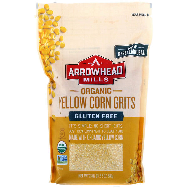 Arrowhead Mills, Organic Yellow Corn Grits, 24 oz (680 g) (Discontinued Item)
