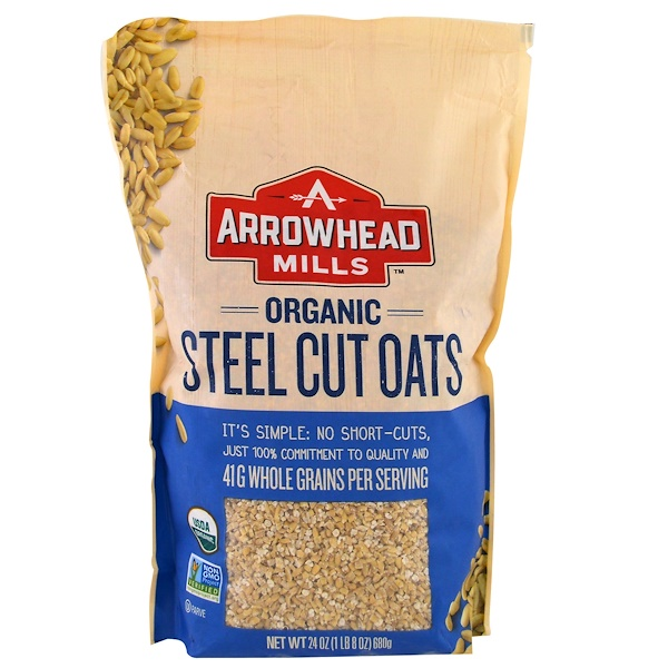 Arrowhead Mills, Organic Steel Cut Oats, Hot Cereal, 1.5 lbs (680 g)