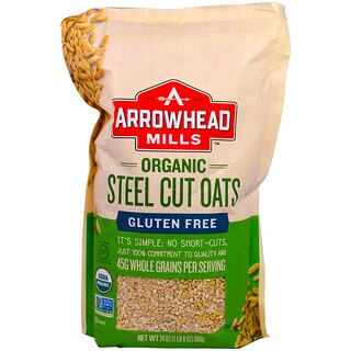Arrowhead Mills, Orgánica Avena de Corte de Acero, Sin Gluten, 24 oz (680 g)