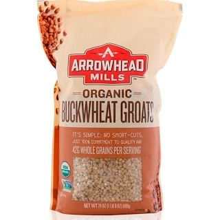 Arrowhead Mills, オーガニック、 バクウィートグローツ、 24 oz (680 g)