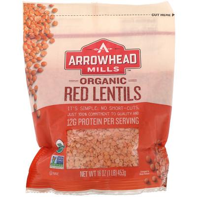 Купить Arrowhead Mills Органическая красная чечевица, 16 унций (453 г)