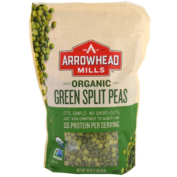 Arrowhead Mills, オーガニック・グリーン・スプリットピー、16 オンス (453 g) (Discontinued Item)