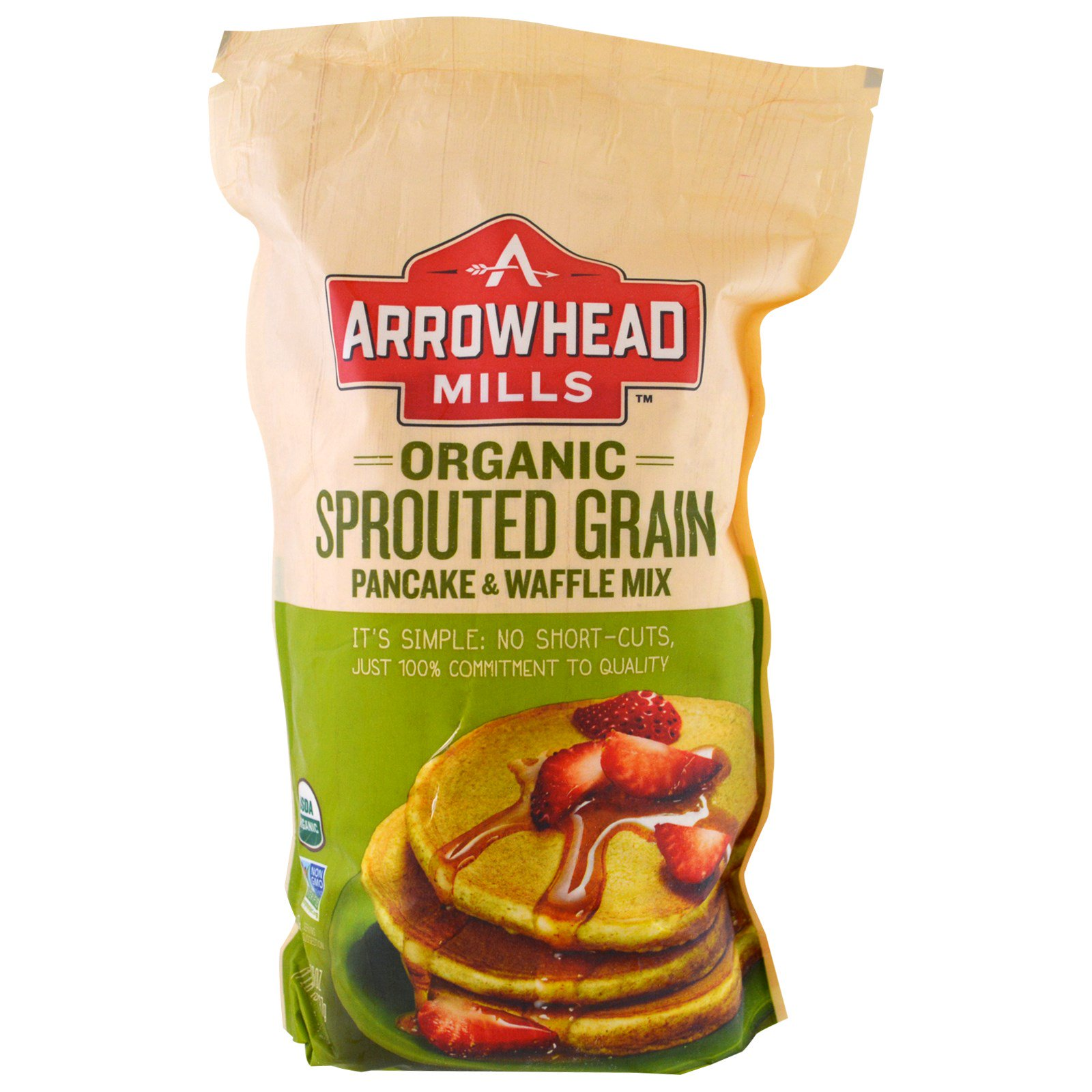 Arrowhead Mills, Смесь для блинов и вафель из органических пророщенных зерен, 737 г (26 унций)