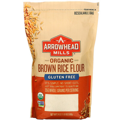 Купить Arrowhead Mills Organic Brown Rice Flour, Gluten Free, 1 lb (680 g)
