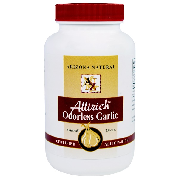 Arizona Natural, Allirich Odorless Garlic, 250 Capsules