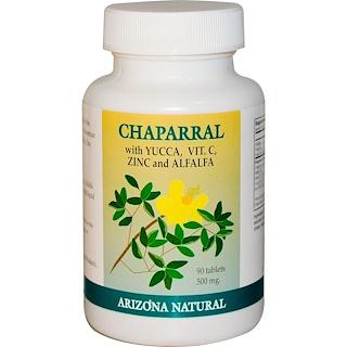 Arizona Natural, Chaparral, Yucca, Vit.C, Zinc & Alfalfa, 500 mg, 90 Tablets