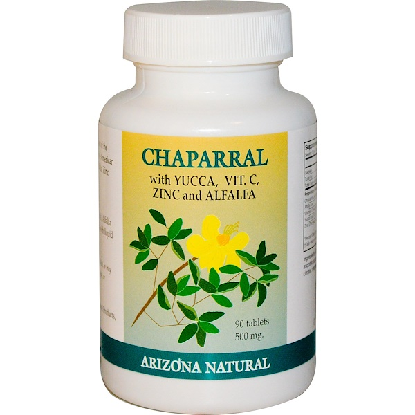 Arizona Natural, Chaparral, Yucca, Vit.C, Zinc & Alfalfa, 500 mg, 90 Tablets (Discontinued Item)