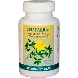 Arizona Natural, Чапараль, 500 мг, 90 таблеток инструкция, применение, состав, противопоказания