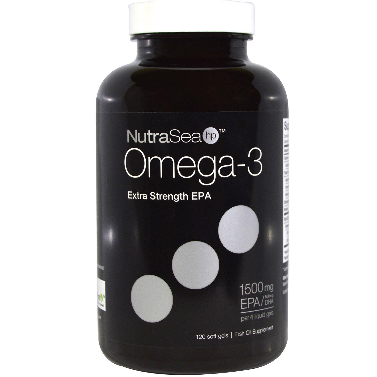 Ascenta, NutraSea hp, омега-3, усиленная ЭПК, со вкусом лимона, 120 желатиновых капсул