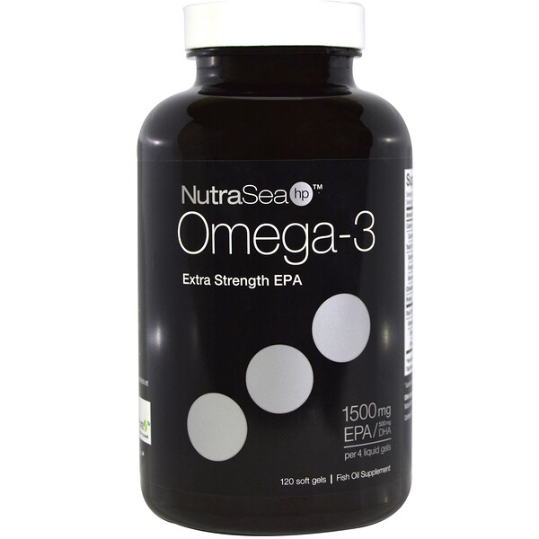 NutraSea hp, Omega-3, Extra Strength EPA, Lemon Flavor, 120 Softgels
