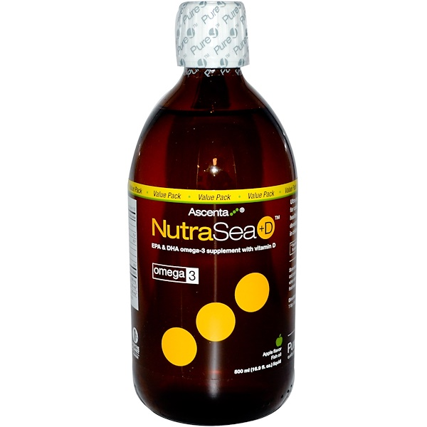 Ascenta, NutraSea + D, Fish Oil Liquid, Apple Flavor, 16.9 fl oz (500 ml) (Discontinued Item)