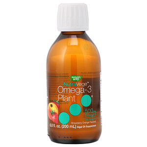 Асцента, NutraVege, Omega-3 Plant, Strawberry Orange Flavored, 500 mg, 6.8 fl oz (200 ml) отзывы покупателей