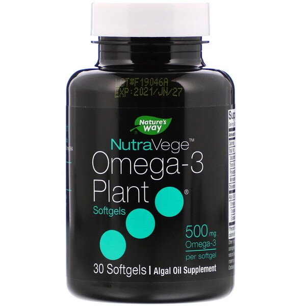 NutraVege, Omega-3 Plant, 500 mg, 30 Softgels