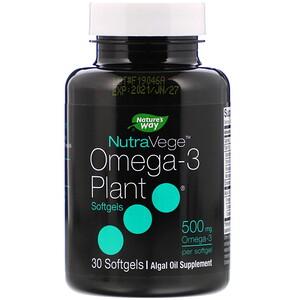 Асцента, NutraVege, Omega-3 Plant, 500 mg, 30 Softgels отзывы