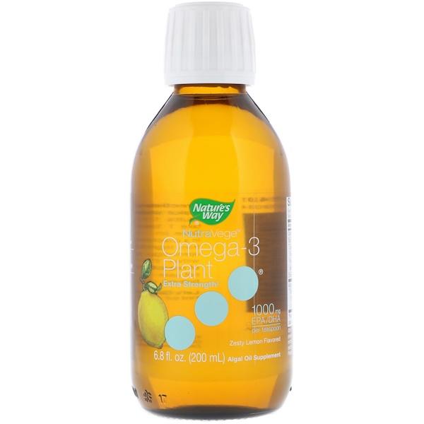 Ascenta, NutraVege, Omega-3 Plant Extra Strength, Zesty Lemon Flavored, 1,000 mg, 6、8 fl oz (200 ml)