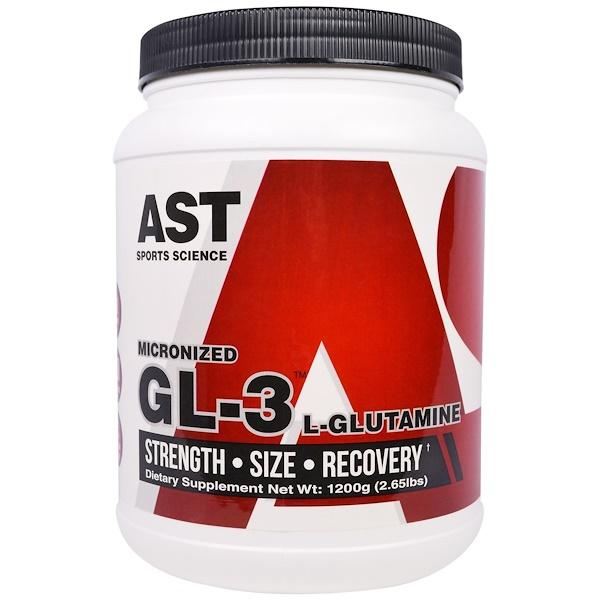 AST Sports Science, 微粉化克L-3,L-谷氨酰胺,2、65磅(1200克)