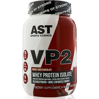 AST Sports Science, VP2, Proteína de suero aislada, doble chocolate rico, 2 libras (960 g)