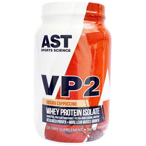 AST Sports Science, VP2, Whey Protein Isolate, Mocha Cappuccino, 2.12 lbs (960 g) (Discontinued Item)