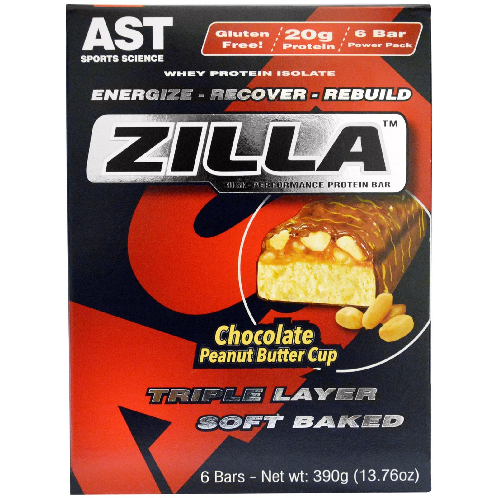 AST Sports Science, Zilla, белковые батончики, шоколад и арахисовое масло, 6 батончиков - 13,76 унции (390 г)